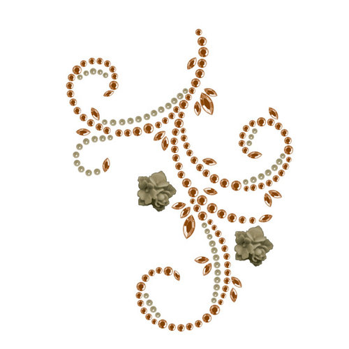 Prima - Say It In Pearls and Crystals Collection - Self Adhesive Jewel Art - Bling - Flourish with Flowers - Brown