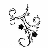 Prima - Say It In Pearls and Crystals Collection - Self Adhesive Jewel Art - Bling - Flourish with Flowers - Black