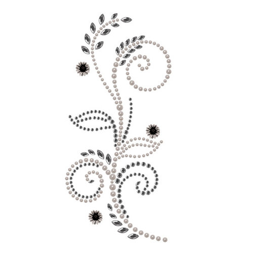 Prima - Say It In Pearls and Crystals Collection - Self Adhesive Jewel Art - Bling - Feathered Hat - Black Diamond, CLEARANCE
