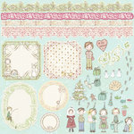 Prima - Celebrate Jack and Jill Collection - 12 x 12 Glittered Cardstock Stickers - Journaling