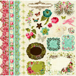 Prima - Madeline Collection - 12 x 12 Glittered Cardstock Stickers - Journaling, BRAND NEW