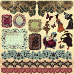 Prima - Back Stage Collection - 12 x 12 Glittered Cardstock Stickers - Journaling