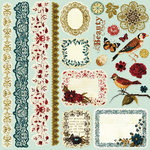 Prima - Reflections Collection - 12 x 12 Glittered Cardstock Stickers - Journaling