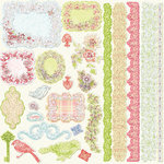 Prima - Sparkling Spring Collection - 12 x 12 Glittered Cardstock Stickers - Journaling