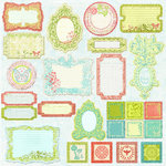 Prima - Sparkling Spring Collection - Self Adhesive Glittered Chipboard Pieces - Journaling
