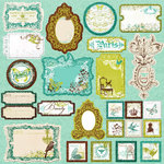 Prima - Madeline Collection - Self Adhesive Glittered Chipboard Pieces - Journaling