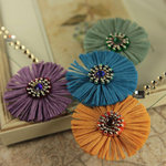 Prima - Raffia Collection - Flower Embellishments - Blue Dawn