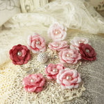 Prima - Audrey Rose Collection - Fabric Flower Embellishments - Tinkled Pink
