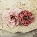 Prima - Heart Desire Collection - Fabric Flower Embellishments - Cameo