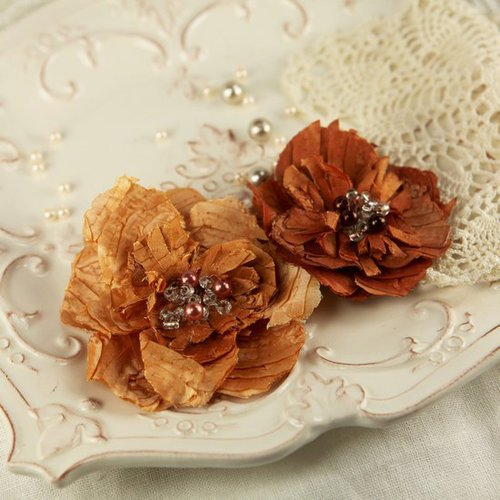 Prima - Heart Desire Collection - Fabric Flower Embellishments - Spice