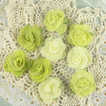 Prima - Champagne Rose Collection - Fabric Flower Embellishments - Lime, BRAND NEW