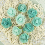 Prima - Champagne Rose Collection - Fabric Flower Embellishments - Teal, CLEARANCE