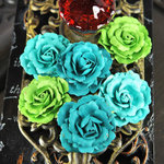 Prima - Treasure Rae Collection - Flower Embellishments - Emerald Sea