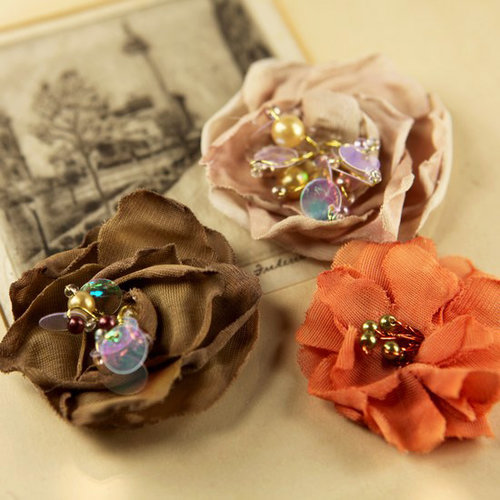 Prima - The Fitzgerald Collection - Fabric Flower Embellishments - Woodland