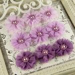 Prima - Delightful Collection - Fabric Flower Embellishments - Twilight