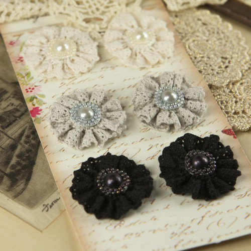 Prima - Classic Lace Collection - Fabric Flower Embellishments - Dresden