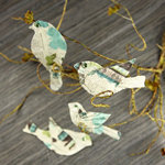 Prima - Birdsong Collection - Bird Embellishments - Teal Print
