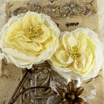 Prima - Parfait Collection - Fabric Flower Embellishments - Butter Cream, CLEARANCE