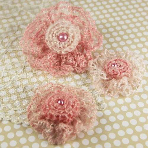 Prima - Miss Sophie Collection - Fabric Flower Embellishments - Baby Pink