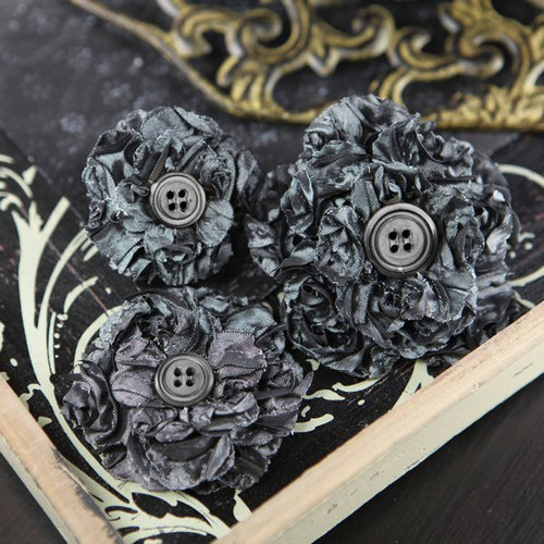 Prima - Button Blossom Collection - Fabric Flower Embellishments - Steel