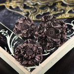 Prima - Button Blossom Collection - Fabric Flower Embellishments - Dark Alder