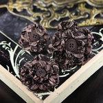 Prima - Button Blossom Collection - Fabric Flower Embellishments - Dark Alder