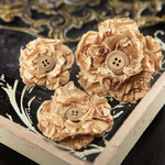 Prima - Button Blossom Collection - Fabric Flower Embellishments - Sand