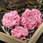 Prima - Button Blossom Collection - Fabric Flower Embellishments - Prime