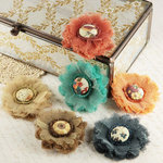 Prima - Trinket Collection - Fabric Flower Embellishments - Reflections, CLEARANCE