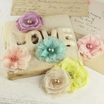 Prima - Whisper Collection - Fabric Flower Embellishments - Sparkling Spring