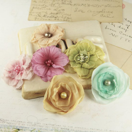 Prima - Whisper Collection - Fabric Flower Embellishments - Melody