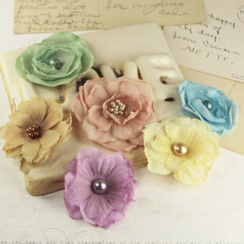 Prima - Whisper Collection - Fabric Flower Embellishments - Moulin Rouge