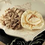 Prima - Dechire Collection - Fabric Flower Embellishments - Creme, BRAND NEW