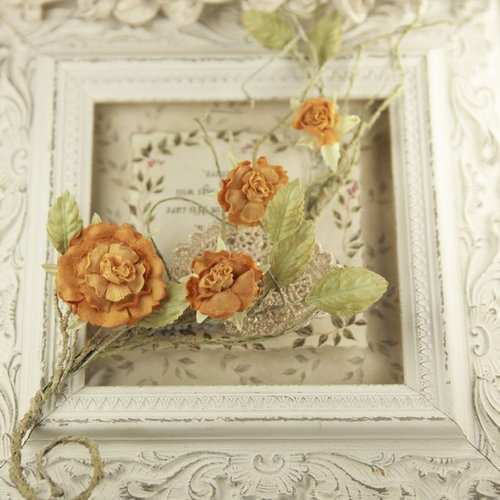 Prima - Summer Carnation 2 Collection - Flower Embellishments - Tangerine
