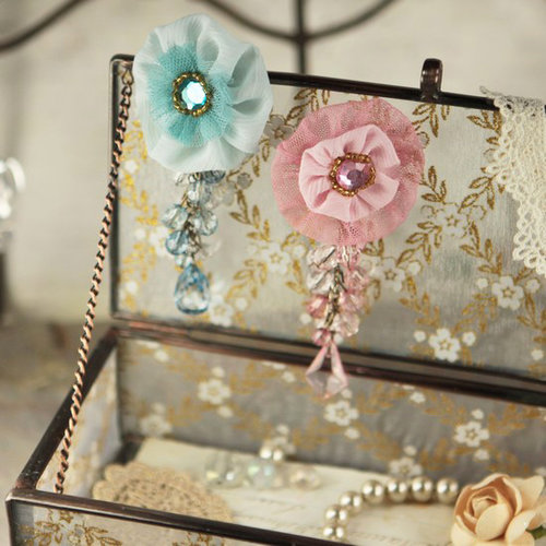 Prima - Angel Eyes Collection - Fabric Flower Embellishments - Sparkling Spring