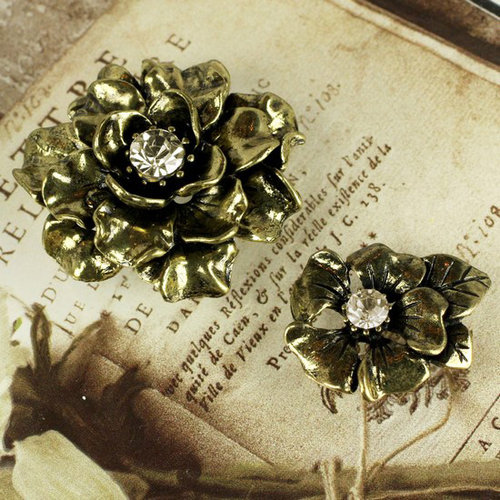 Prima - Vintage Trinkets Collection - Metal Embellishments - Flowers Mix 1