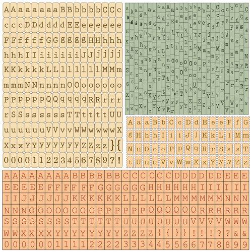 Prima - Romantique Collection - Cardstock Stickers - Alphabet - Typeset