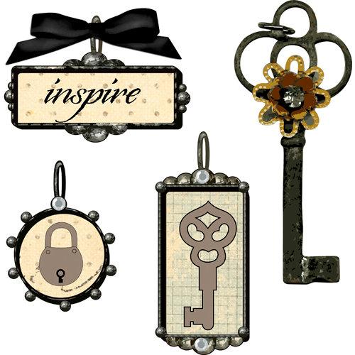 Prima - Tiny Treasures Collection - Precious Metal Embellishments - Lock Key