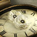 Prima - Fleur De Lys Collection - Fabric Flower Embellishments - Ivory
