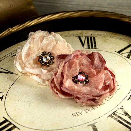 Prima - Fleur De Lys Collection - Fabric Flower Embellishments - Almond