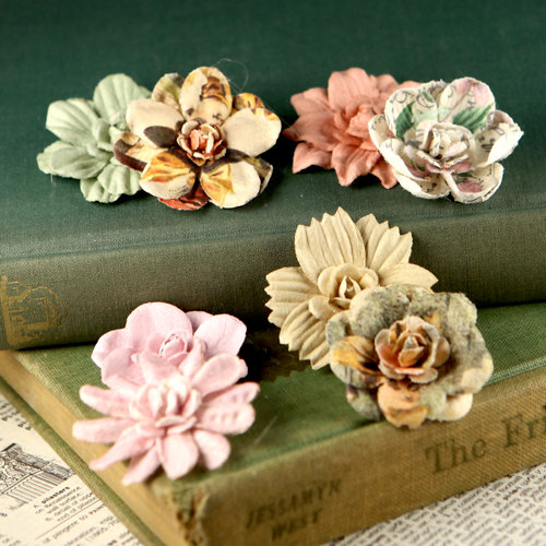 Prima - Firefly Collection - Mulberry Flower Embellishments - Stone