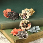 Prima - Firefly Collection - Mulberry Flower Embellishments - Cedar