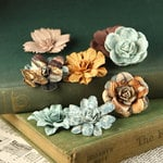 Prima - Firefly Collection - Mulberry Flower Embellishments - Blue Ochre