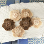 Prima - Harlow Collection - Pleated Fabric Flower Embellishments - Cashew