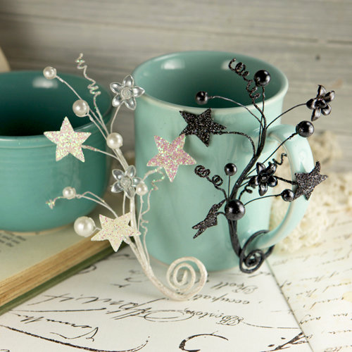 Prima - Crystal Palace Collection - Vine Embellishments - Black Snow