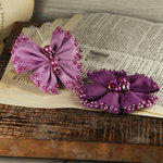 Prima - Elegance Collection - Fabric Butterfly and Flower Embellishments - Amethyst