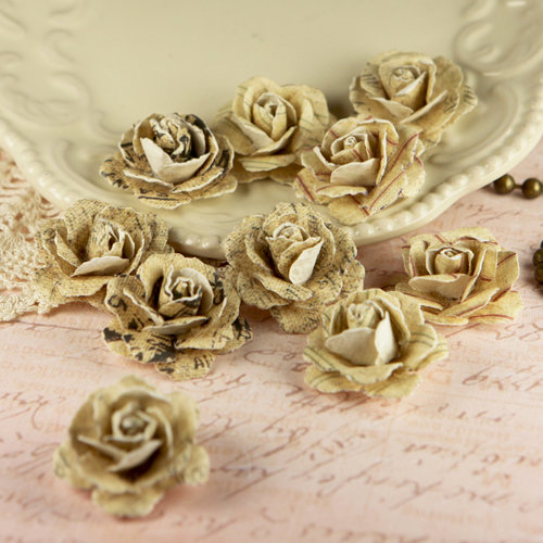 Prima - Parchment Petals Collection - Flower Embellishments - Antique