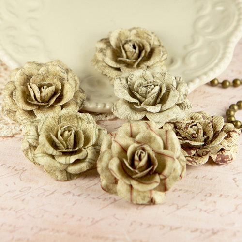 Prima - Parchment Petals Collection - Flower Embellishments - Scroll