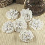 Prima - Elysa Collection - Fabric Flower Embellishments - White