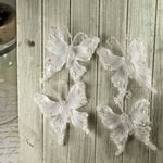Prima - Fantasy Collection - Fabric Butterfly Embellishments - Snow